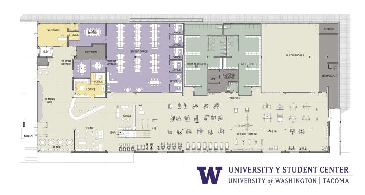 Floor plan for first floor of the UWY