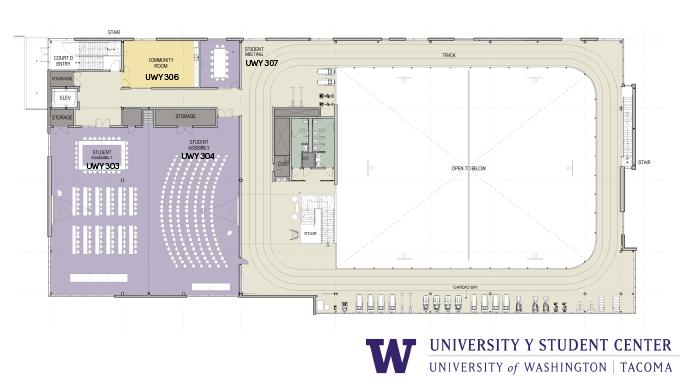 Floor plan of third floor of UWY
