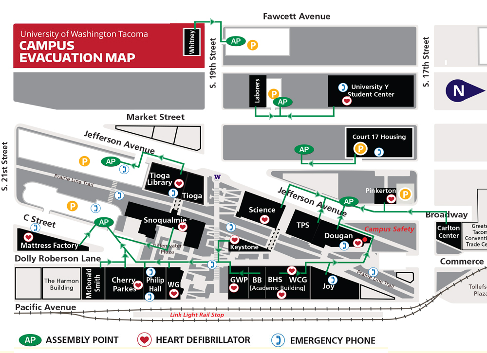 UW Tacoma campus evacuation map