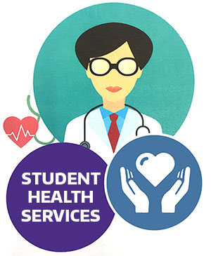 "Graphic image of three circles. One with a doctor, one with hands and a heart, and the third with the words ""Student Health Services"""