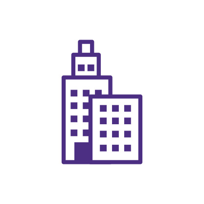 Two Buildings Icon Purple