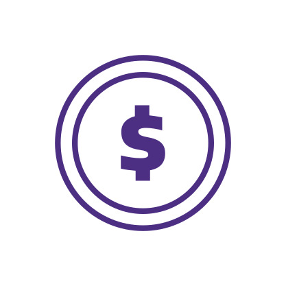 Dollar Coin Icon Purple