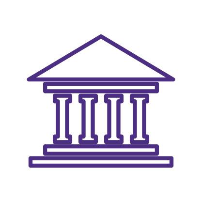 Bank Building Icon Purple