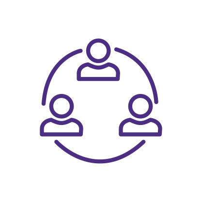 Network of Connected People Icon Purple