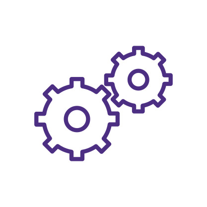 Interlocking Gears Icon Purple