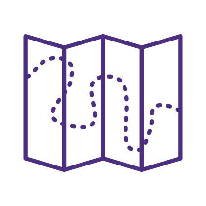 Map with Dotted Route Icon Purple