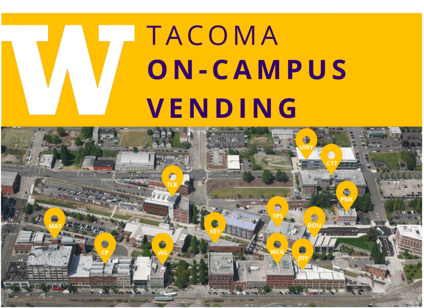 UW Tacoma campus map with vending locations