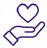 Hand with Heart Icon Purple