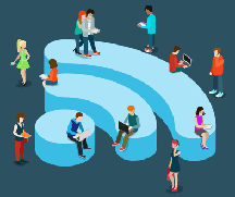people connecting over wifi