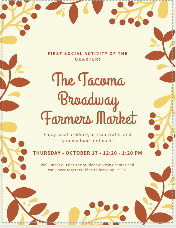 Flyer for the Tacoma Broadway farmers market