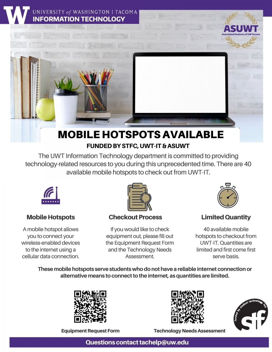 Flyer showing mobile hotspot checkout at UW Tacoma