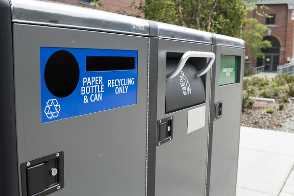 Picture of the big belly waste bins. Recycling, landfill, and compost.