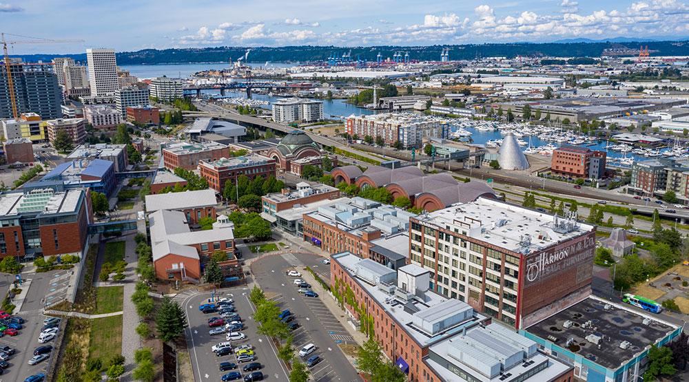 UW Tacoma campus looking towards downtown Tacoma