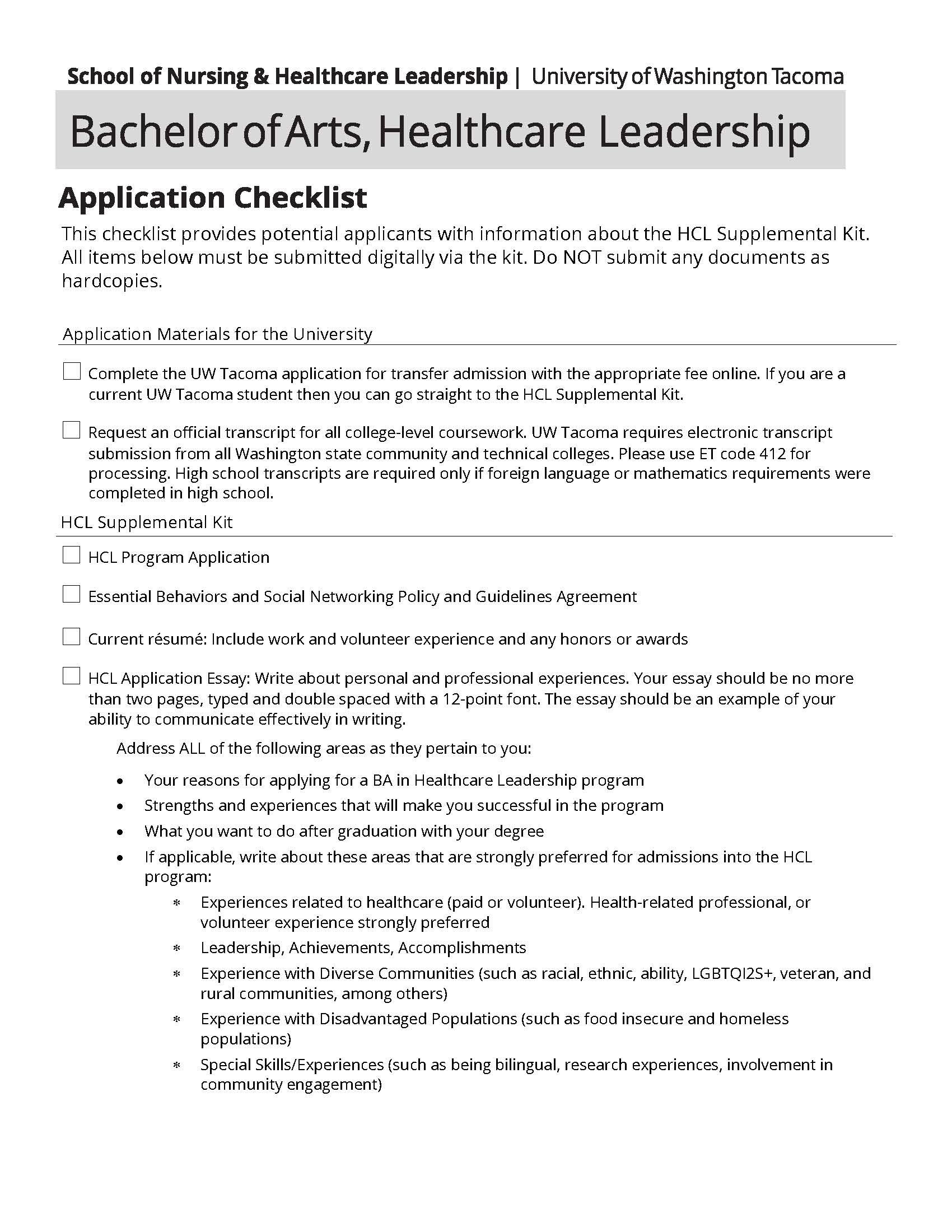 HCL Application Checklist
