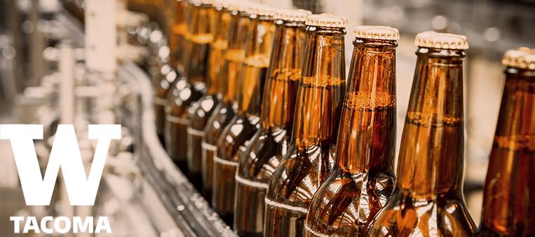 Bottles of beer on belt