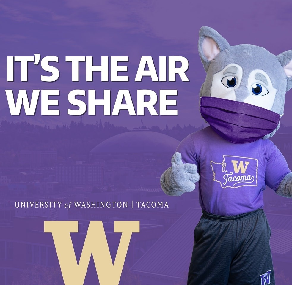 "Photo of Hendrix the Husky mascot wearing a mask, with the words ""It's the Air we Share"""