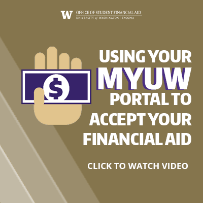 "Graphic with hand that says ""Using MyUW portal to accept your financial aid"""