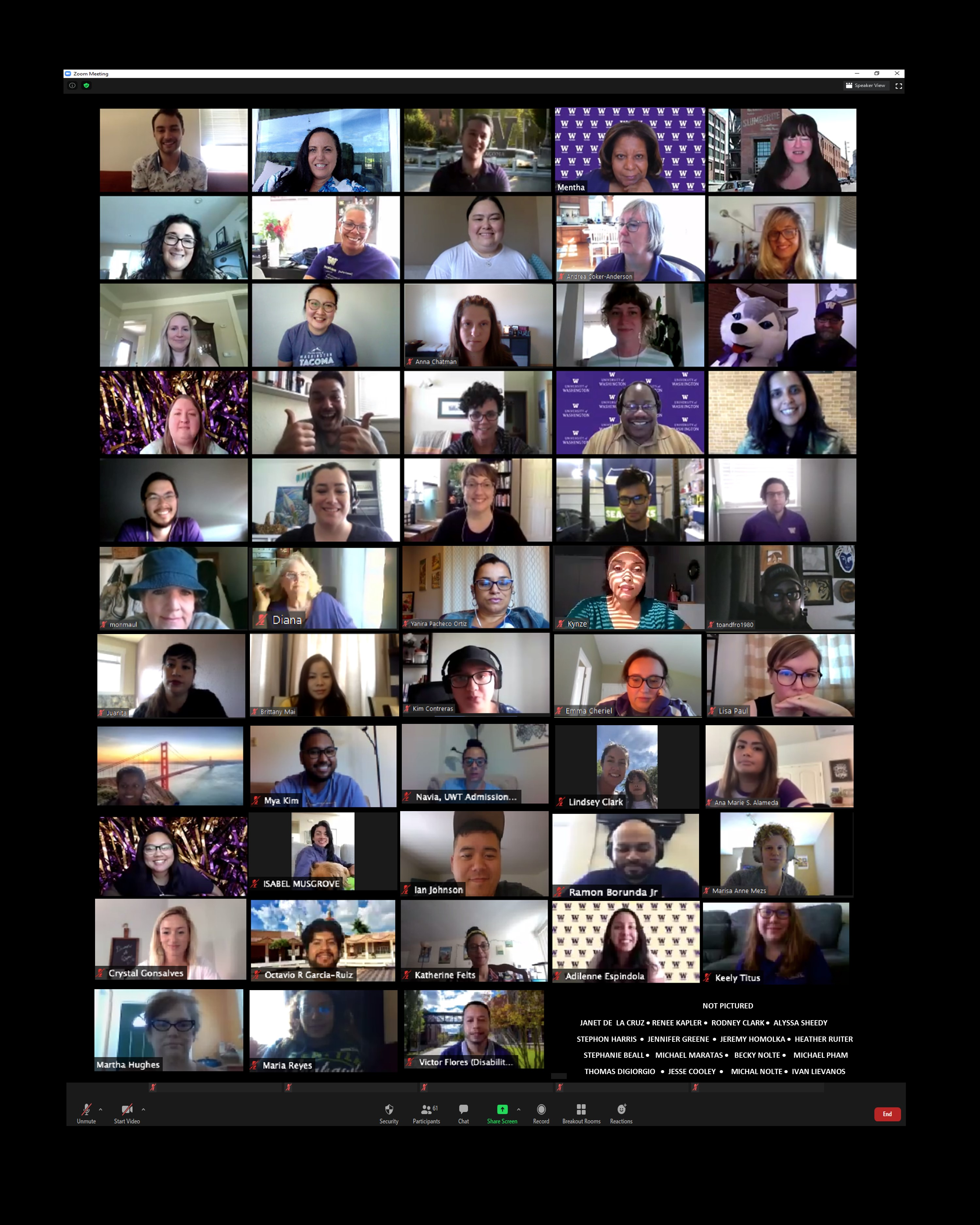 Image showing all student affairs staff members on Zoom