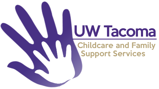 """CFSS logo showing two hand prints on top of each other, with words """"UW Tacoma"""" and """"Childcare and Family Support Services"""""""