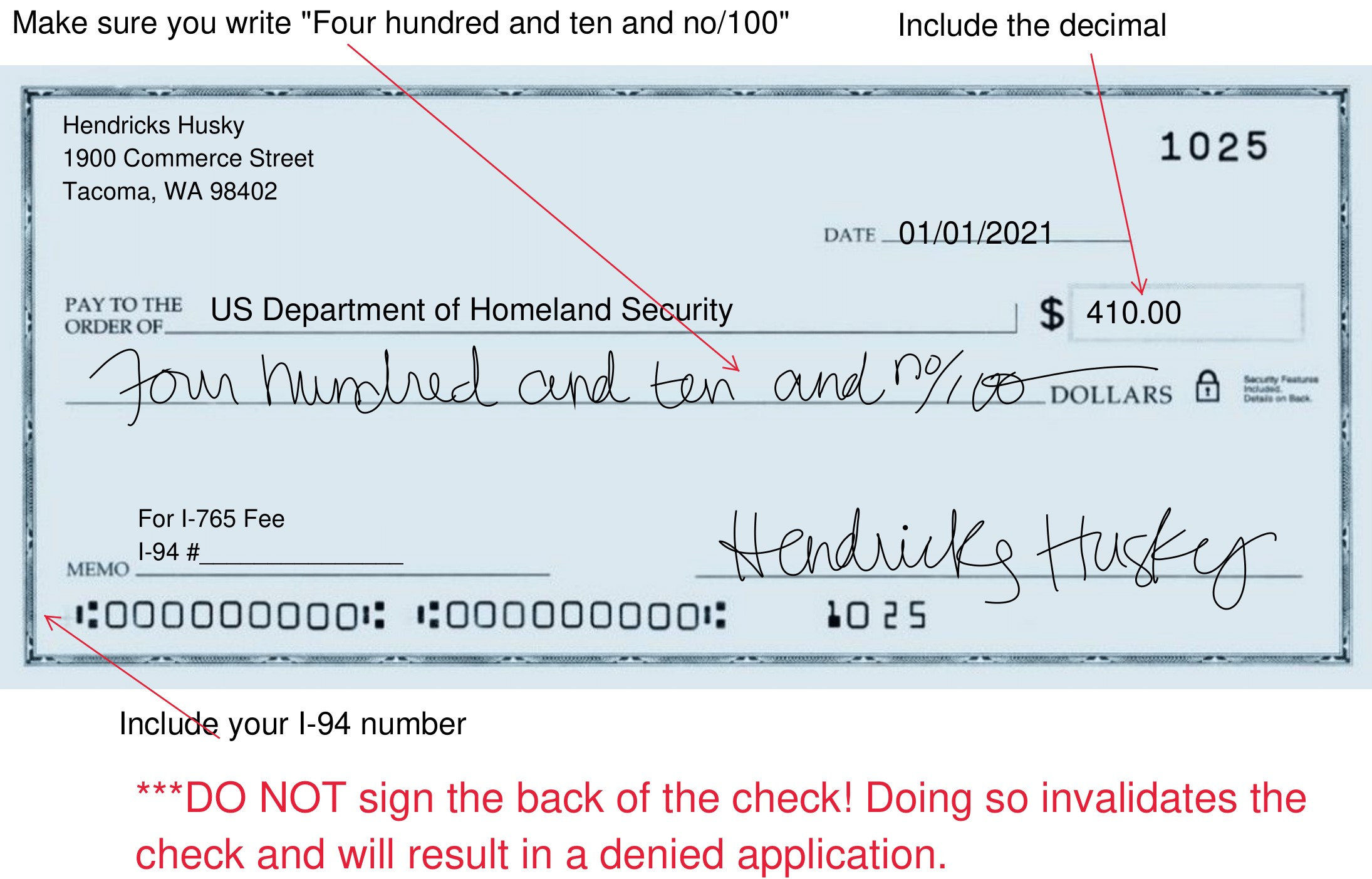 an example of how to write a check