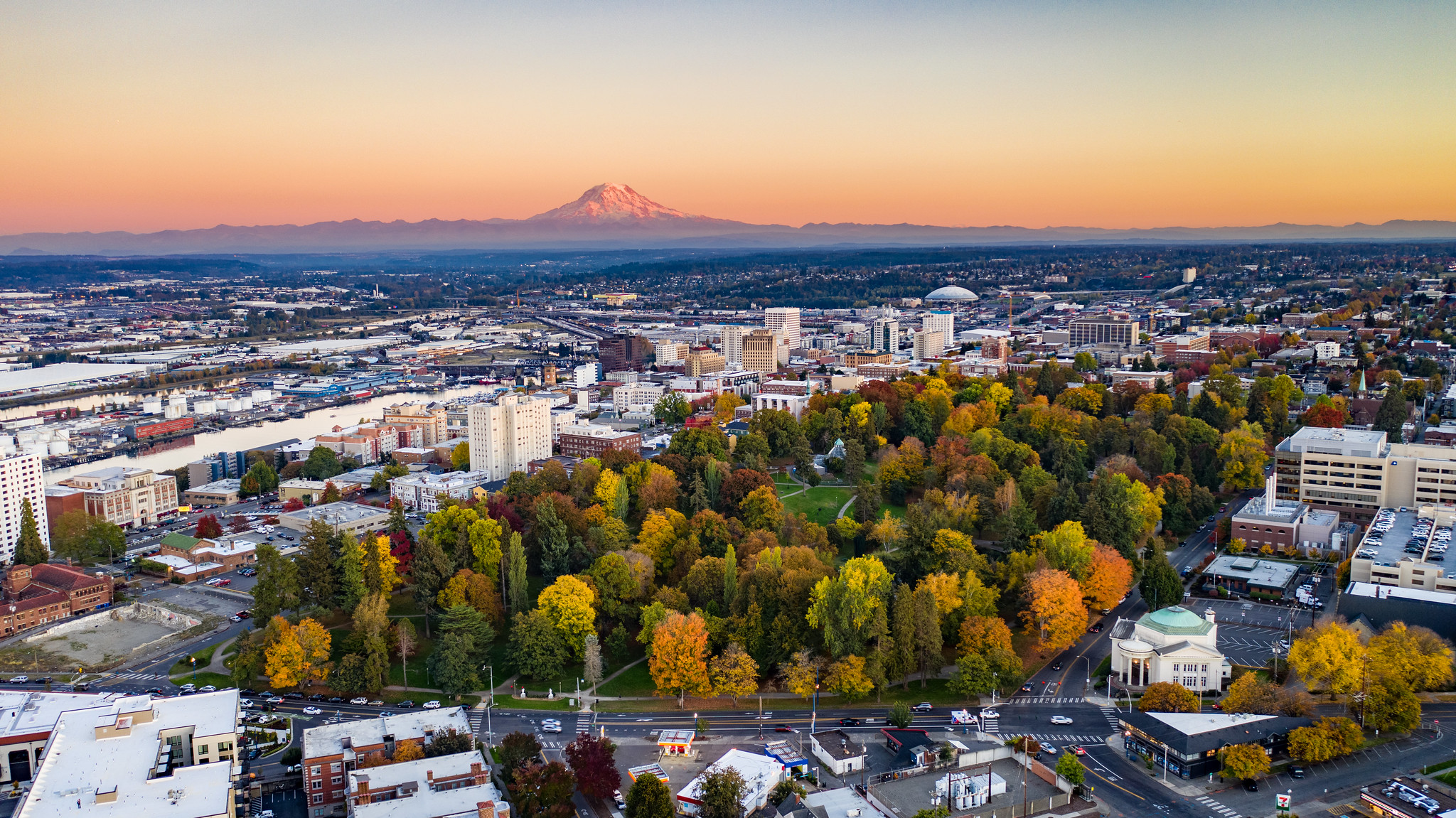 Drone Shot of Tacoma looking towards Mt. Rainier