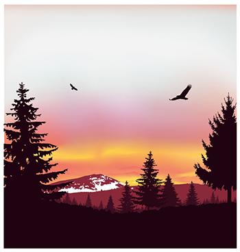 Mountain and sunset illustration