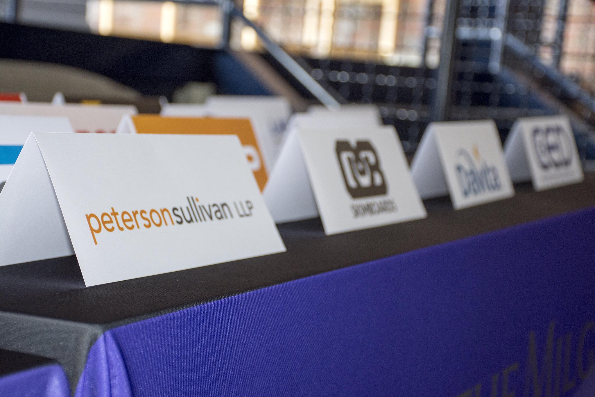Company logos at inaugural Milgard Success Center career fair