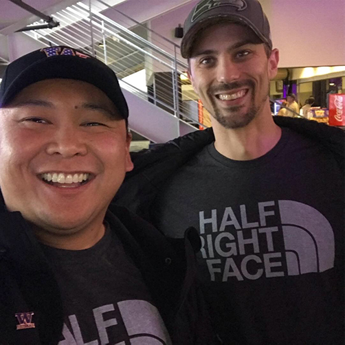 """Jeffrey Bantay, left, and Thomas Di Giorgio at the UW """"Salute to Service"""" game in November 2018."""
