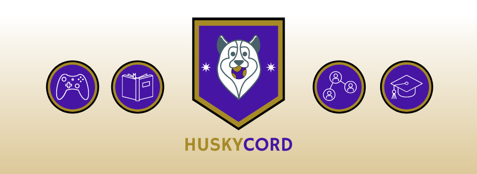 From left to right- One purple circle with a game controller outlined in the center, another purple circle with a book outlined, then a purple shield with Husky face in the middle, holding a ball.  Followed by a purple circle with connected circles in the center, and lastly, a purple circle with a graduation cap outlined in the center.