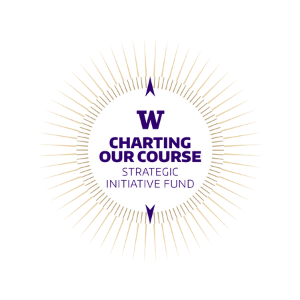 """UW Strategic Initiative Fund logo with text, """"charting our course"""""""
