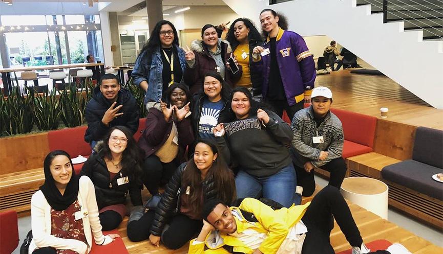 Members of UW Tacoma's Asian Pacific Islander Student Union (APISU) on a professional development fieldtrip to Microsoft.