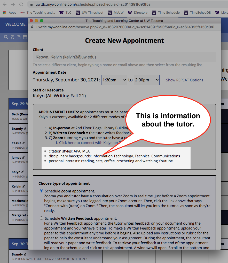 image shows location of tutor biographical information in appointment window