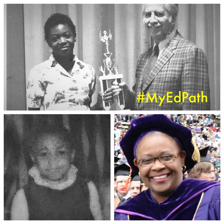 Montage of three photos of UW Tacoma Chancellor Sheila Edwards Lange: receiving academic recognition in California (top); Head Start portrait (lower left); graduating from UW