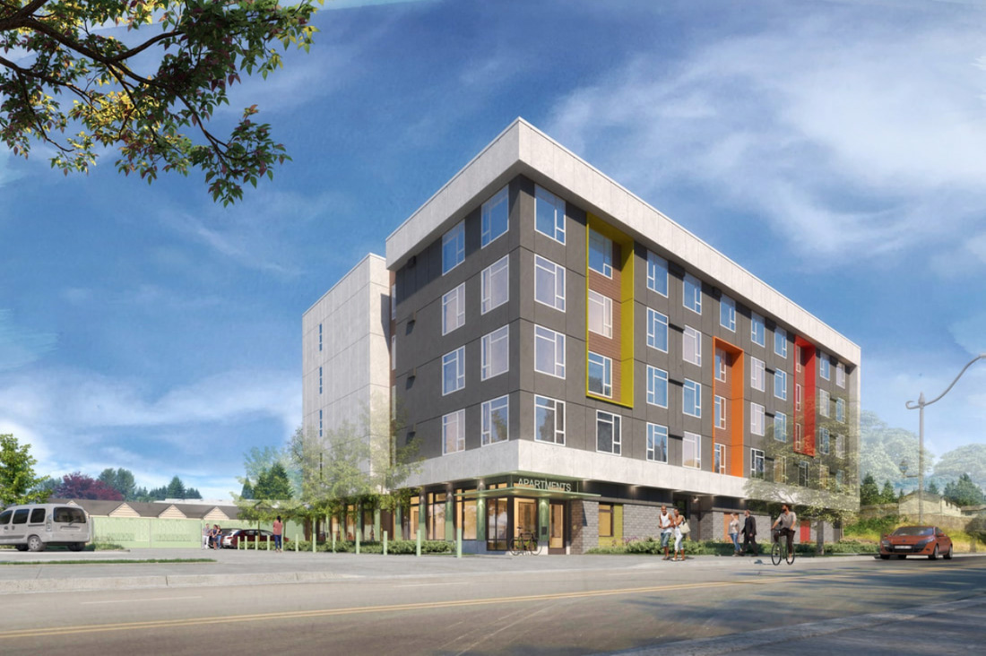 Rendering of 2828 Martin, new low-income housing and homeless shelter in Olympia.