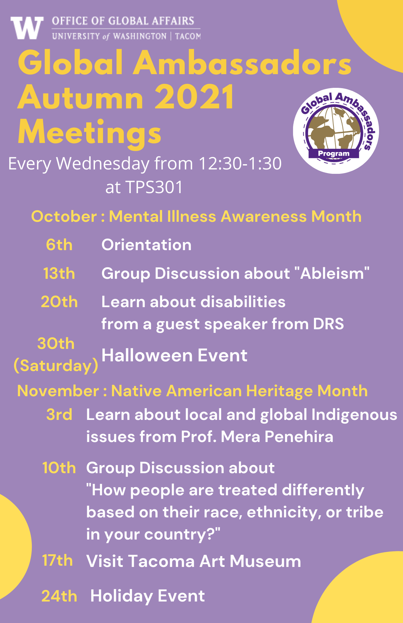 Global Ambassadors Autumn meetings schedule