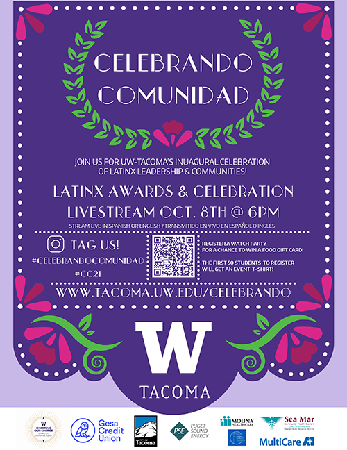 Event flyer for Celebrando Comunidad. Flyer is purple with a gold wreath around Celebrando Comunidad and mutli-colored flowers on the bottom corners.