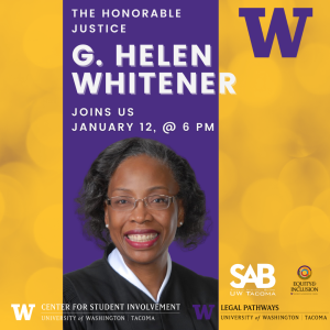 Advertisement for The Honorable Justice G. Helen Whitener speaking engagement, featuring image of Justice Whitener.