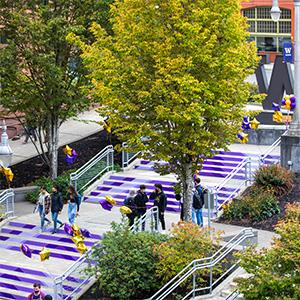 UW Tacoma Grand Staircase decorated with purple for 2021 Convocation