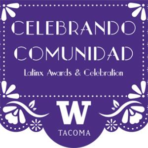Poser for Celebrando Comunidad. Text is white on a purple background. There are white flowers in the top and bottom corners.