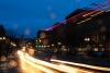 High Exposure headlights along the street at night