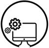icon for Computer Science & Systems with a computer and gears enclosed in a circle