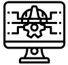 icon for computer engineering: a computer screen with diagrams on it.