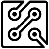 icon for electrical engineering: a drawing of part of a circuit board