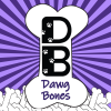 The DB Logo is a white bone, standing vertically, with the D and B large in the middle of the bone written in black, with Dawg Bones written underneath in purple.  The Large bone is standing on top of a pile of bones at the bottom of the image.  The background is interlocking rays of dark purple and light purple reaching out from the center.